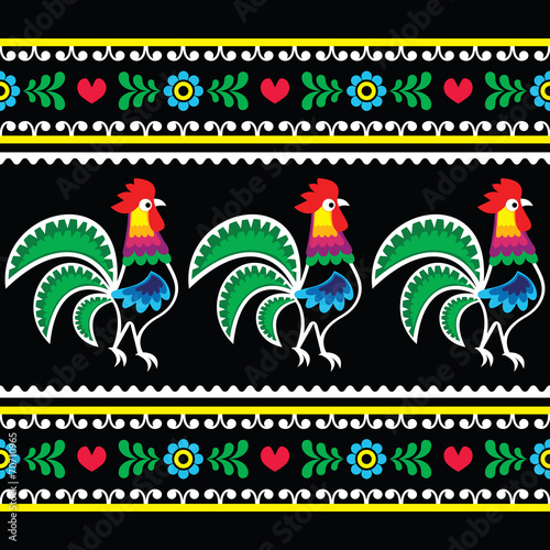 Fototapety, obrazy: Polish folk art pattern with roosters on black - Wzory lowickie