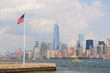 United States Flag with New York Skyscrapers on background