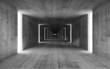 Leinwandbild Motiv 3d render, abstract empty gray concrete interior background