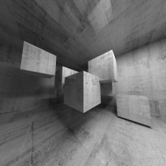 Abstract concrete 3d interior with flying cubes