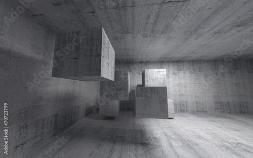 Abstract concrete 3d interior with flying cubes. Wide angle
