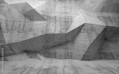 Abstract dark concrete 3d interior with polygonal pattern on the #70723928