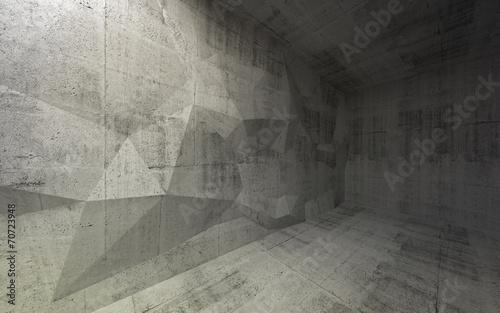 fototapeta na lodówkę Streszczenie ciemne wnętrze z betonu 3d struktury na t wielokąta