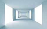 Fototapeta Perspektywa 3d - Abstract architecture 3d background, empty blue corridor