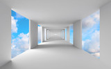Fototapeta Przestrzenne - Abstract 3d architecture, empty white corridor with sky