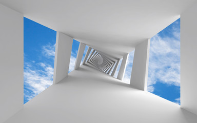 Abstract 3d background with twisted corridor and sky