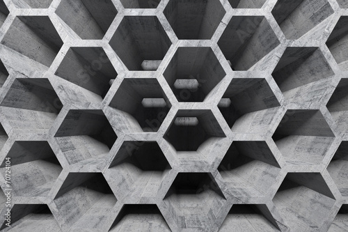 Fotografie, Tablou Abstract gray concrete interior with honeycomb structure