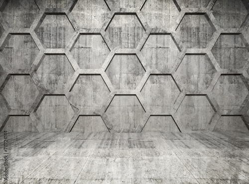 Abstract concrete interior with honeycomb structure on gray wall #70724144