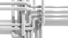 Modern Industrial Metal Pipeline Intersection. 3d Render