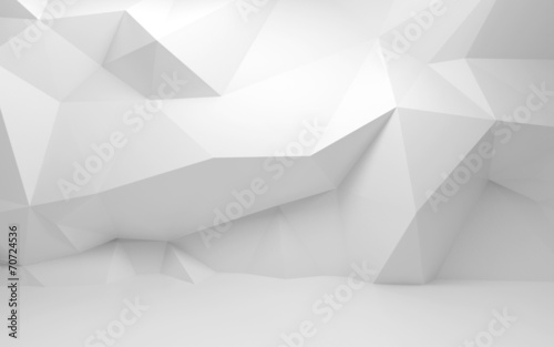 Abstract white 3d interior with polygonal pattern on the wall