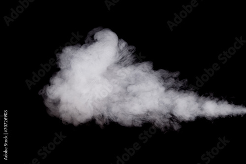 In de dag Rook White smoke on black background