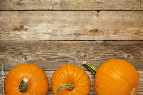Fotografie, Obraz  autumn pumpkin on rustic wood