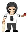 Cartoon Vector Character - Playing Cricket
