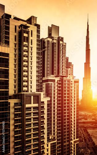Photo  Dubai downtown in sunset