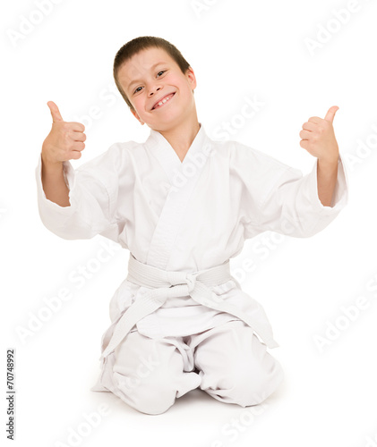 Deurstickers Vechtsport boy in clothing for martial arts