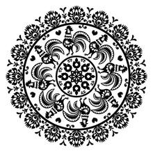 Monochrome Polish Folk Art Pattern In Circle - Wycinanka