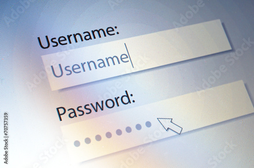 Fotografía  Login. Username and Password on Computer Screen