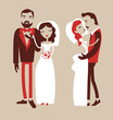 wedding illustration, man and woman pair