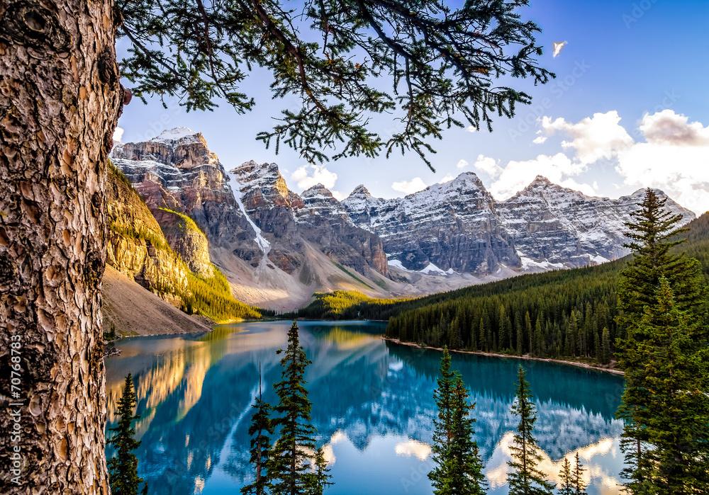 Fototapeta Landscape view of Morain lake and mountain range, Alberta, Canad