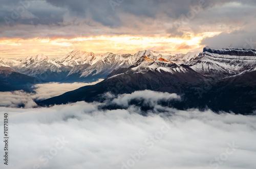 Colorful sunrise with winter mountain range, Banff, Canada