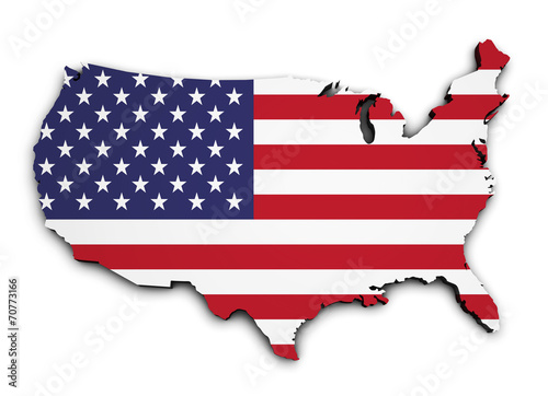 USA Flag Map 3d Shape Canvas Print