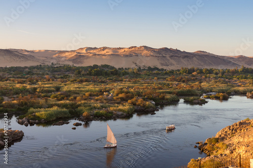 Photo Stands Egypt Life on River Nile, Aswan, Egypt