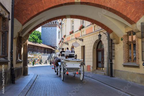 obraz PCV Bryczką na streetin Pijarskiej Kraków, Poland