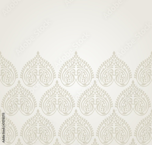 Obraz na plátne  wedding card design, paisley floral pattern , India