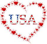 Fototapeta Nowy Jork - serce z  serc i napis USA