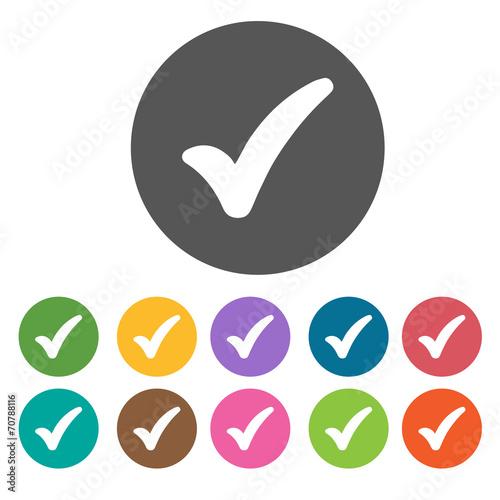 Fotografie, Obraz  Fat check icon. Check Mark Sign Symbol icon set. Round colourful
