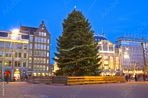 Photo  Damsquare in Amsterdam at christmas in the Netherlands