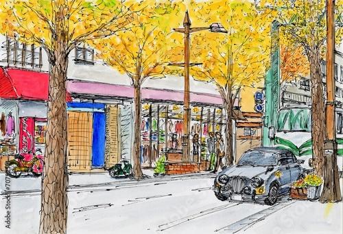 Papiers peints Orange 晩秋の街角風景