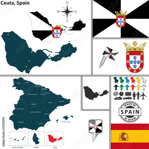 Map of Ceuta, Spain