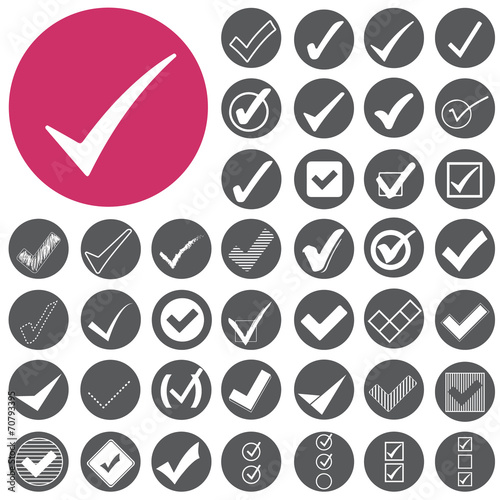 Fotografie, Obraz  Check mark sign icons set. Vector Illustration eps10