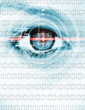canvas print picture - Data eye with binary code
