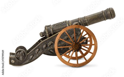 Fotografia decorative cannon isolated on the white background