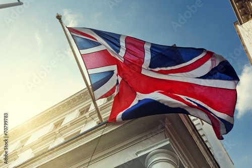 Canvas Print flag of UK on government building