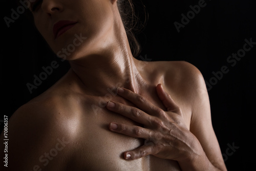 Body scape of woman neck and hand emotion