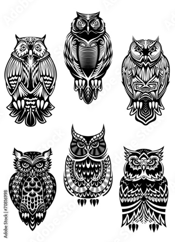 Poster Uilen cartoon Tribal owl birds set