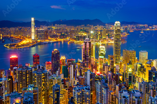 Hong Kong skyline at night, China Poster