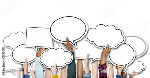 Fotografia, Obraz Group of Hands Holding Speech Bubbles