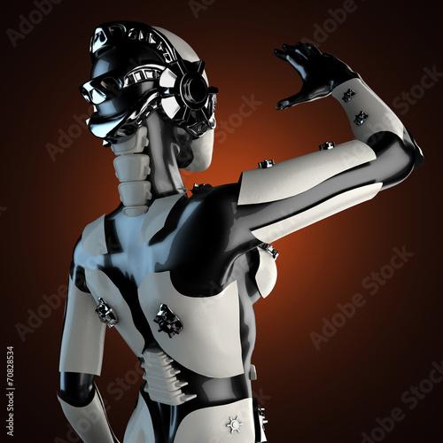 Foto op Plexiglas Wild West woman robot of steel and white plastic