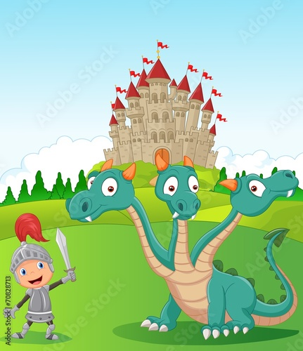 Foto op Canvas Kasteel Cartoon knight with three headed dragon