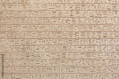 Spoed Foto op Canvas Egypte Egyptian hieroglyphs stone background