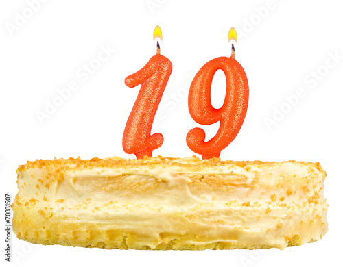 Birthday Cake With Candles Number Nineteen Isolated On White
