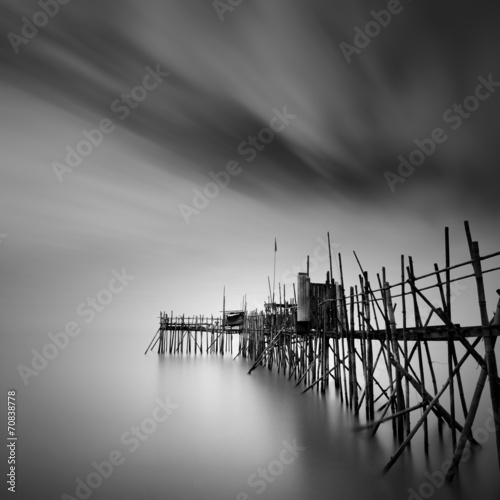 Aluminium Prints Dark grey Old Pier
