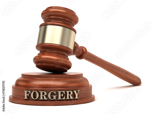 Forgery text on sound block & gavel Fototapeta