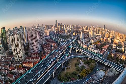 Foto op Aluminium Kuala Lumpur city closeup by fisheye view