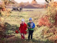 Two Children On Autumn Field