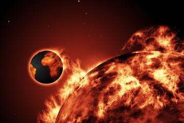 Fototapeta Ziemia pochłonięta przez Słońce